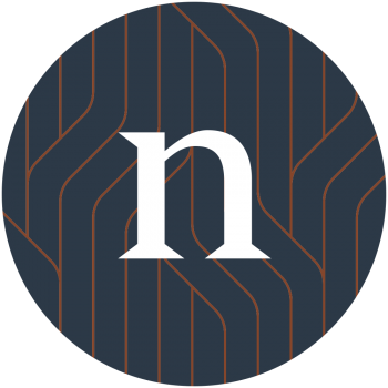 Our Logo, a lowercase n in white font. The background is a dark blue with coppery red coloured wavy lines intersecting, reminiscent of trees, plants, hydro lines or pipelines.