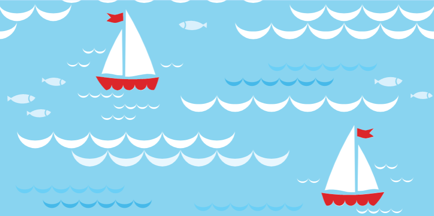 Cartoon sailboats float on a blue sea of white capped waves. Fish are seen in the water as well.