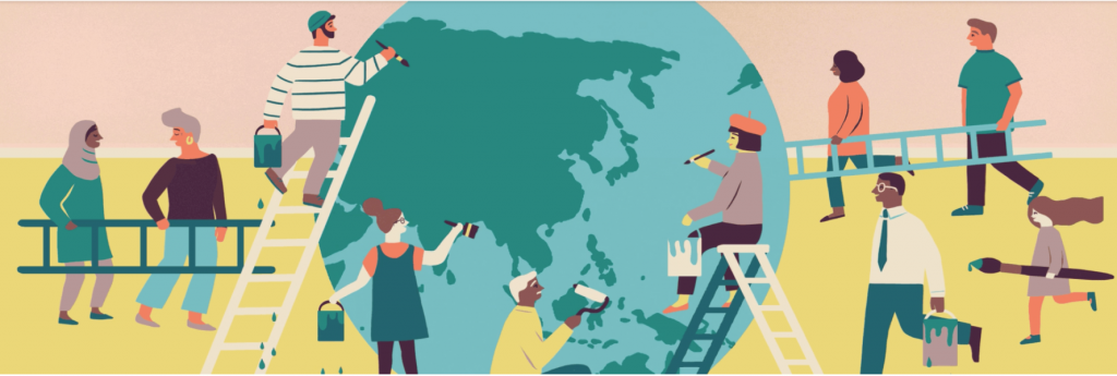 People of different ages, genders, ethnicities work together to paint a large globe. Some are carrying ladders.